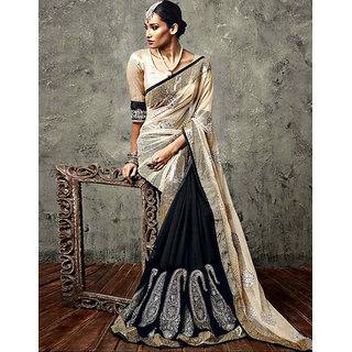Aaradhya Couture IIFA Beige & Black Heavy Designer Vikram Phadnis saree