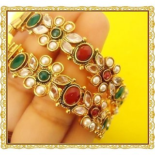 DESIGNER OPENABLE GOLD PLATED BROAD BANGLES-FITS ALL