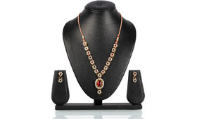 Bhuri Red And Green Diamond Studded Gold Plated Necklace Set With Earrings