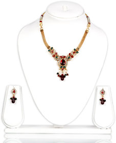 Bhuri Multi Colored Diamond Studded Gold Plated Necklace Set With Earrings