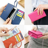 Multifunctional Envelope Wallet Purse Phone Case For All Smart Mobiles(pink)