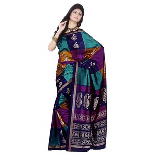 S V Inc Multicolor Silk Floral Saree With Blouse