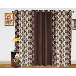 Dekor World Double Damask Curtain-Pack Of 3 Pcs