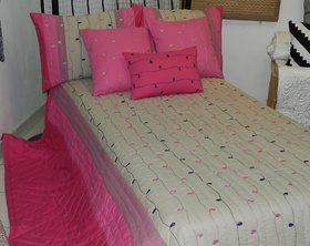 Cotton Embroidered & Quilted Bed Cover Set