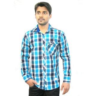 Navy blue dual check shirt