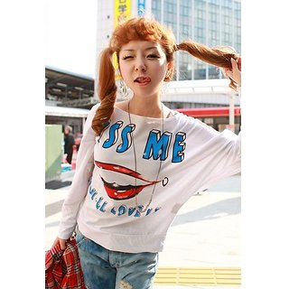 Welcome Winter Offer:Red Lips Printing (KISS ME)T-Shirt White