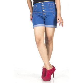 TrendBAE 5 Button High Waist Shorts - Cobalt Blue