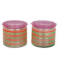 COLORFUL RINGER GLASS CONTAINER (SET OF TWO)