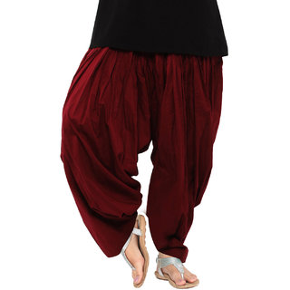 Ashish Fabrics Maroon Cotton Plain Patiala Salwar