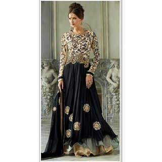 Black Georgette Fancy Suit Comprising Floral Embroidery Work With Chiffon Dupatta