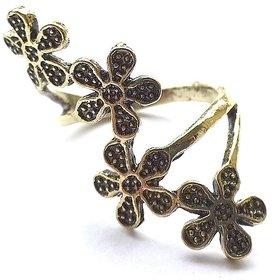 GirlZ!Fashion vintage flower finger ring - Gold