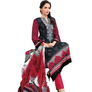 IndiWeaves Black Georgette Lace Salwar Suit Dress Material (Unstitched)