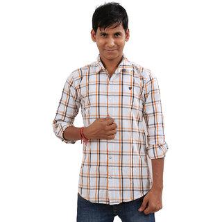 Indiweaves Mens White Regular Fit Casual Shirt