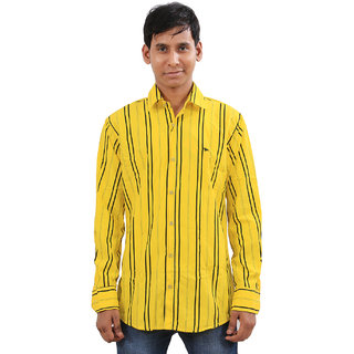 Indiweaves Mens Yellow Regular Fit Casual Shirt
