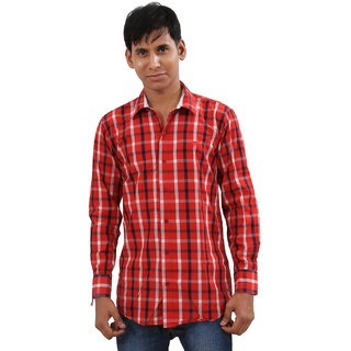Indiweaves Mens Red Regular Fit Casual Shirt