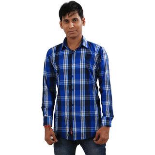 Indiweaves Mens Blue Regular Fit Casual Shirt