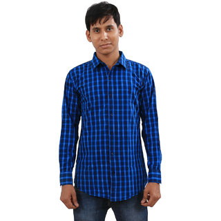 Indiweaves Mens Blue Regular Fit Casual Shirt