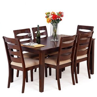 SOLID SHEESHAM WOOD 6 SEATER DINNING SET WITH SIX CHAIRS