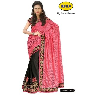 Big Dream Fashion Georgette  And Jacquard Sarees Red And Black