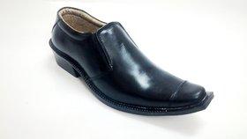 MadInk Black Formal Leather Slip On Shoes