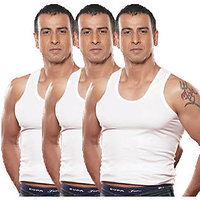 Men's White Vests (Pack of 3)