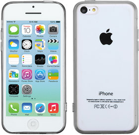 Mybat 4589 An Usa Brand Glassy Transparent Clear/Transparent Black Gummy Cover For Iphone 5C