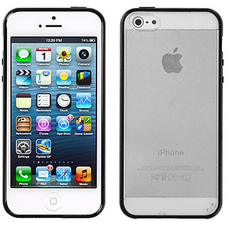 Mybat 2429 An Usa Brand Transparent Clear/Solid Black Gummy Cover For Iphone 5C