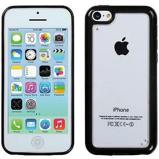 Mybat 1732 An Usa Brand Glassy Transparent Clear/Solid Black Gummy Cover For Iphone 5C
