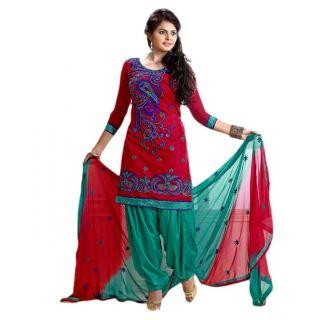 FadAttire Chanderi Patiala Salwar Kameez Dress MaterialPinkFARL05