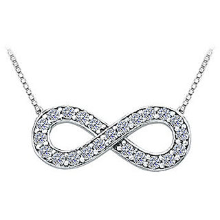e1a6edfbd Tiffany Inspired Infinity Necklace with April Birthstone Diamond in 14K  White Gold 0.25 CT TDW