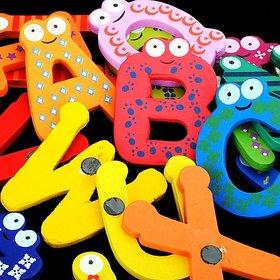 Wooden Alphabets Stickers Fridge Magnet  26 Big Alphabets in Vibrant Color