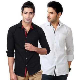 Online Hawk Party Wear White-black Shirts For Men Prices ...