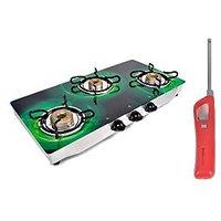 Jindal O-Series Three Burner Gas Stove/Cook Top And Gas Lighter Combo