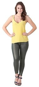FLUR Shimmer Free Size Legging - Gold on Green