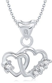 Vina's Art of Love Heart Shaped Rhodium Plated Pendant