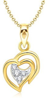Vina's Admirable Heart Shaped Gold and Rhodium Plated Pendant