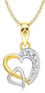 Vina's Dual Heart Shaped Gold and Rhodium Plated Pendant