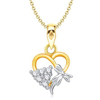 Vina's Triangle Heart Shaped Gold and Rhodium Plated Pendant