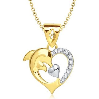 Vina's Classy Dolphin Heart Shaped Gold and Rhodium Plated Pendant