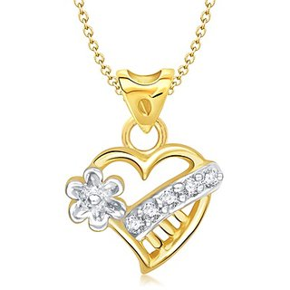 Vina Lily Flower Heart Shape Gold And Rhodium Plated Pendant