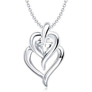 Vina Leaf & Heart Shape Rhodium Plated Pendant