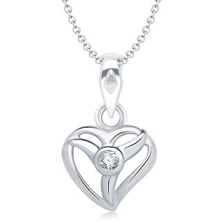 Vina Divine Heart Shape Rhodium Plated Pendant