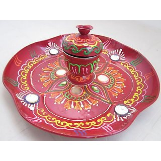 Stainless Steel Hand Painted Puja Thali