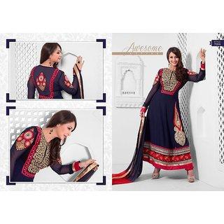 Ladies Partywear Designer Semi Stitched Suit Blue