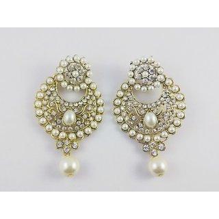Beautifull pair of festive dangler earrings with pearls  zircon
