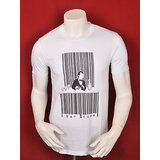 BAR CODE MEN ROUND NECK WHITE PRINTED T-SHIRT