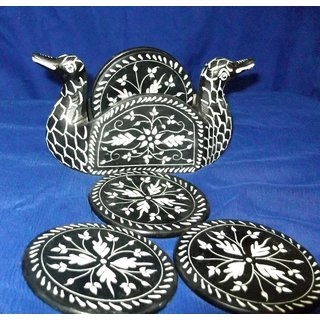 Duck Design Marble Coaster Set
