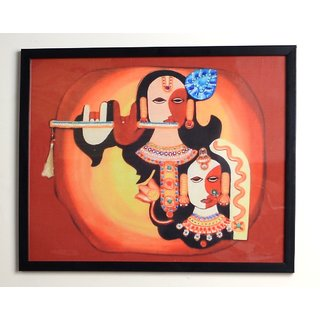 Shri Krishna Digital Painting On Fabric 12 X 15 Inch Exclusive Pictures In Bright N Colorful Concept