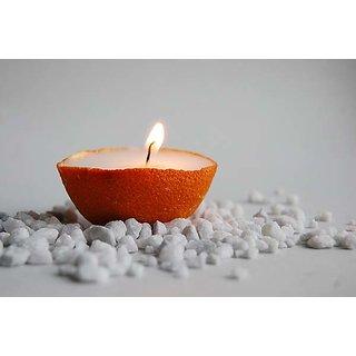 Hand Painted Candle Orange