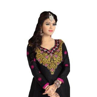Suchi Fashion Black colored Cotton embroidered  Semi - stitched Suit
